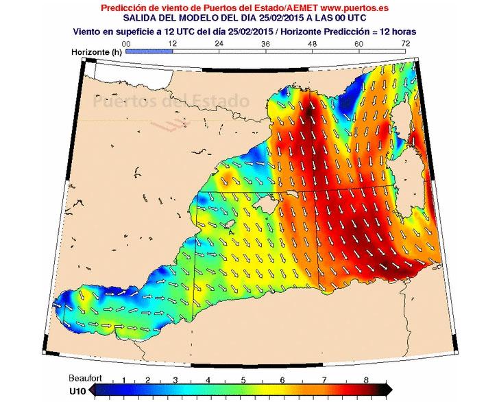 mapa de previsión viento y oleaje